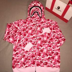 Bape Pink ABC Camo Full Zip Shark Hoodie